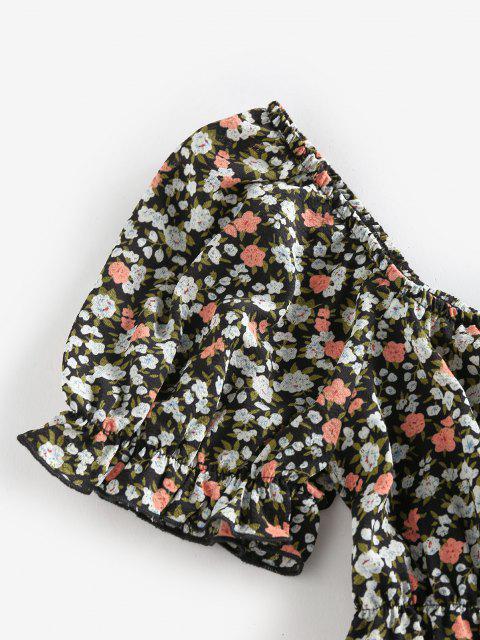 ZAFUL Bluse mit Ditsydruck und Rüschen mit Bowknot - Schwarz S Mobile