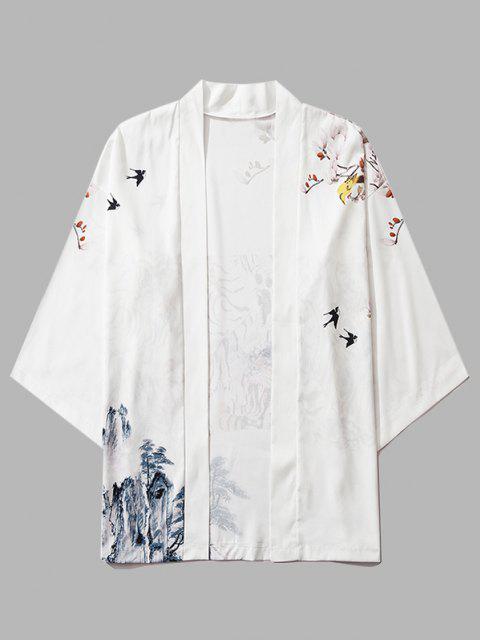 affordable Mountain Flower Bird Landscape Kimono Cardigan - MILK WHITE 2XL Mobile