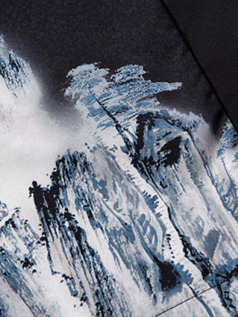 Cardigan Kimono Paysage de Montagne Fleur Oiseaux - Noir S Mobile