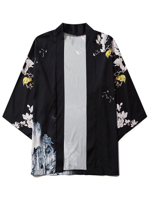 new Mountain Flower Bird Landscape Kimono Cardigan - BLACK M Mobile