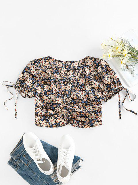 ladies ZAFUL Flower Bowknot Ruched Buttoned Blouse - MULTI-A S Mobile