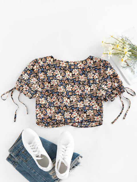 unique ZAFUL Flower Bowknot Ruched Buttoned Blouse - MULTI-A M Mobile