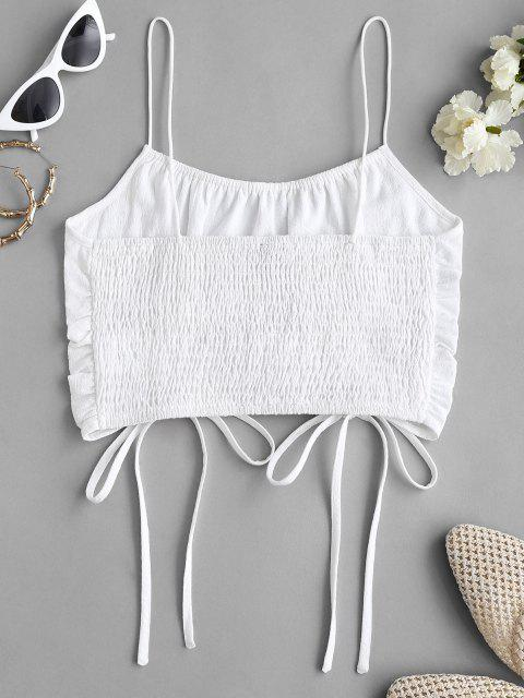 shop Cinched Tie Smocked Back Crop Cami Top - WHITE XS Mobile