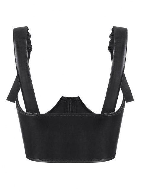 lady Buckled Strap PU Leather Underwire Underboob Corset - BLACK S Mobile
