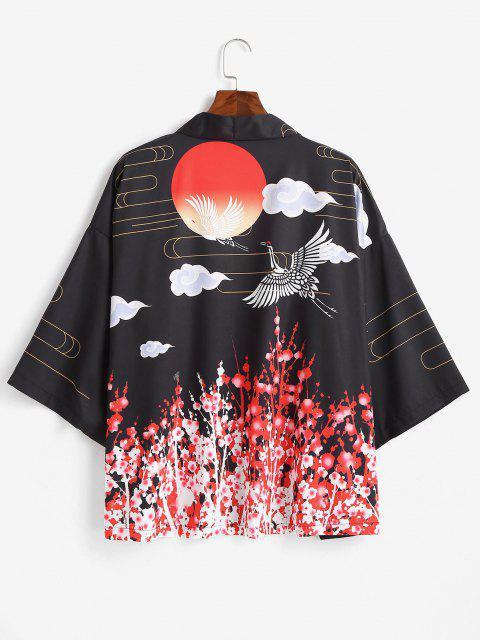 Sonnen Kran Blumendruck Offener Vorder Kimono - Schwarz 2XL Mobile