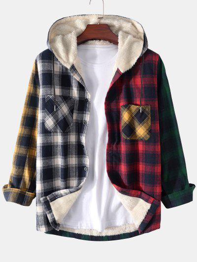 Colorblock Plaid Pocket Fluffy Hooded Shirt Jacket - Deep Red 2xl