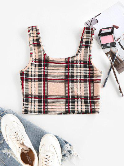 ZAFUL Plaid U Neck Crop Tank Top - Light Coffee L