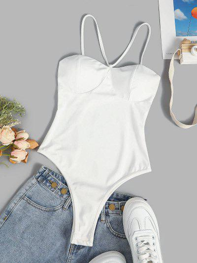 Padded Cups Snap Crotch Bustier Bodysuit - White L