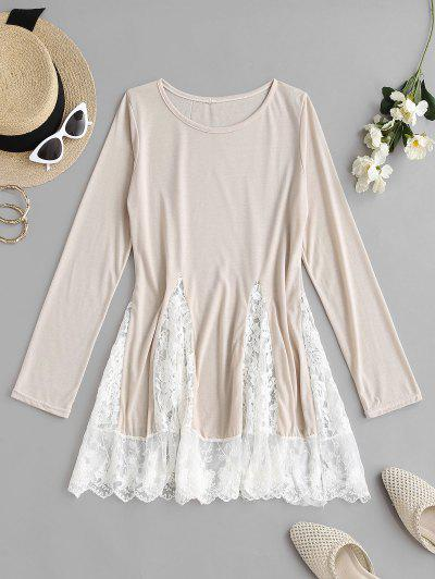 Flower Lace Insert Colorblock Mini Dress - Light Coffee M
