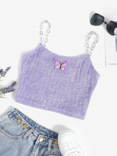 Chain Straps Butterfly Patch Chenille Knit Cami Top - Light Purple S