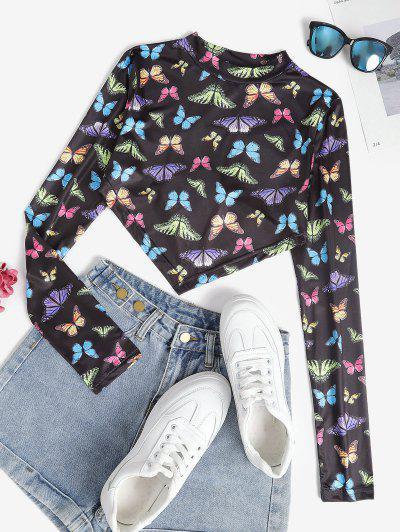 Mock Neck Butterfly Print Back Tie Crop Top - Multi M