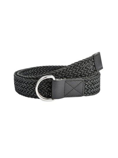 Double Ring Braided Belt - Black