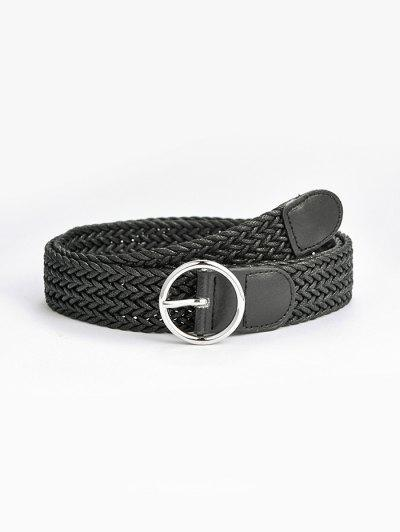 Round Pin Buckle Braid Belt - Black