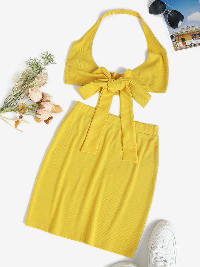 Halter Rib-knit Tie Front Slinky Two Piece Dress - Yellow L