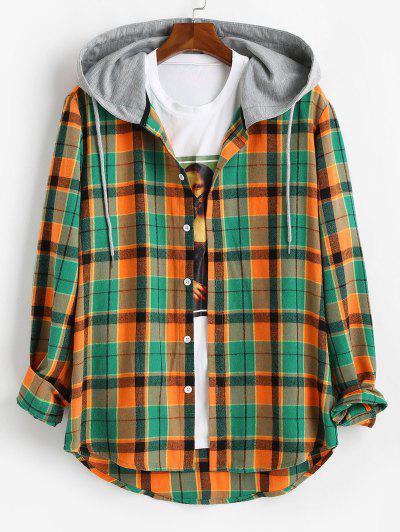 Hooded Plaid Print High Low Shirt - Orange L