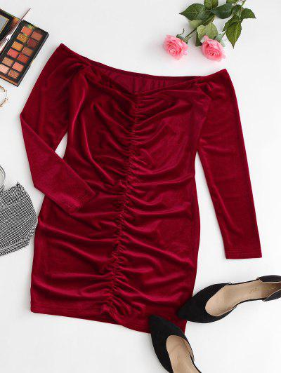 ZAFUL Off The Shoulder Velvet Ruched Bodycon Dress - Ruby Red L