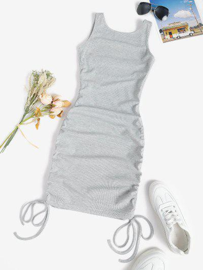 Rib-knit Cinched Ruched Slinky Backless Bodycon Tank Dress - Light Gray S