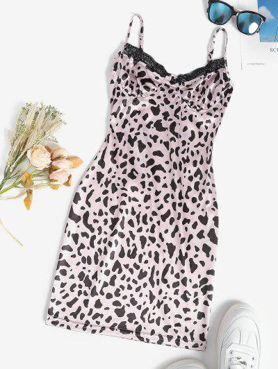 Leopard Slinky Lace Trim Bodycon Slip Bustier Dress - Light Pink M