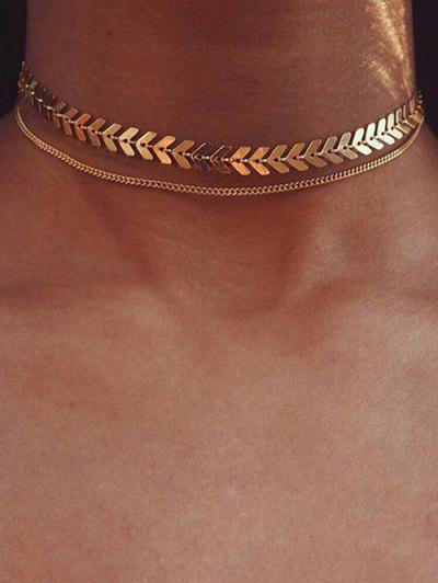 Herringbone Layers Choker Necklace - Golden