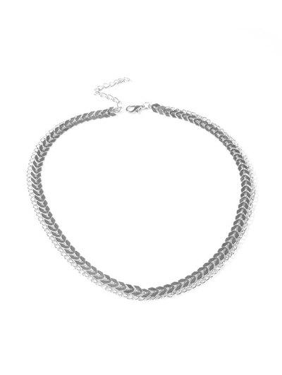 Herringbone Layers Choker Necklace - Silver