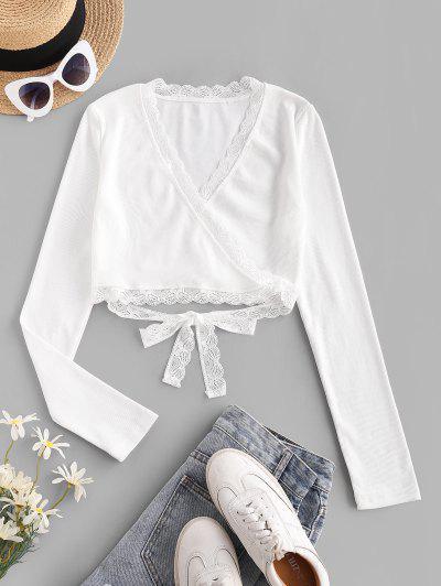 Rib-knit Lace Trim Wrap Top - White L