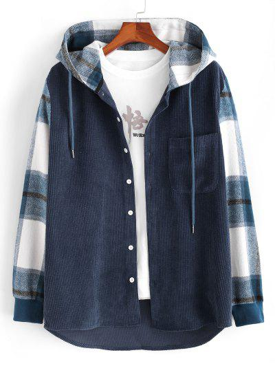 Hooded Plaid Print Button Up Corduroy Jacket - Deep Blue L