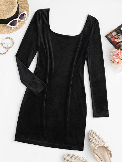 U Neck Velvet Sheath Long Sleeve Dress - Black L