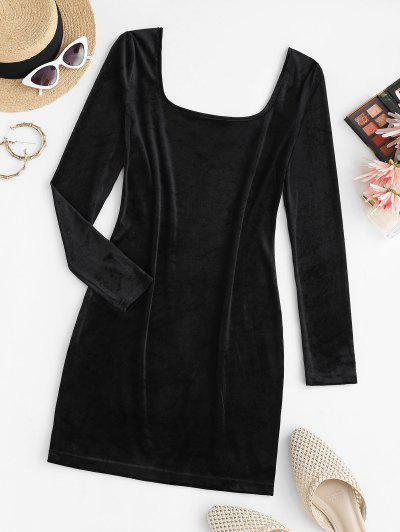 U Neck Velvet Sheath Long Sleeve Dress - Black S