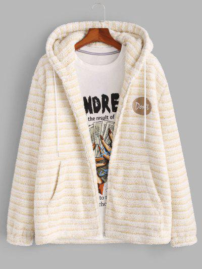 Hooded Letter Embroidered Striped Fluffy Jacket - Light Yellow S