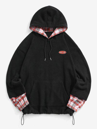 Letter Embroidered Plaid Pattern Fleece Hoodie - Black L