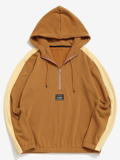 Letter Patch Plush Colorblock Hoodie - Deep Yellow S