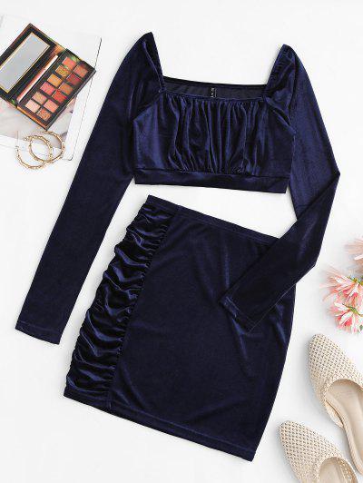 Ruched Velvet Square Neck Bodycon Skirt Set - Deep Blue M