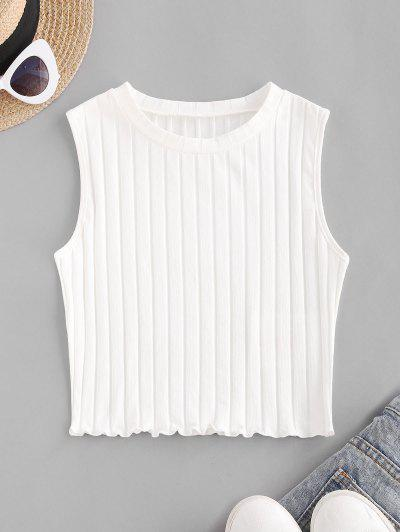 ZAFUL Ribbed Lettuce Trim Crop Top - White S