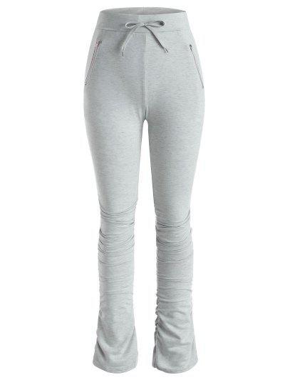 Pantalones Fruncido Con Cremallera Con Cordón - Gris M