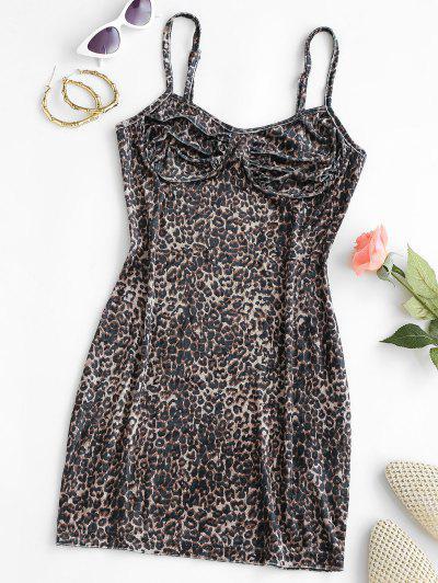 Leopard Velvet Cupped Bodycon Dress - Black L