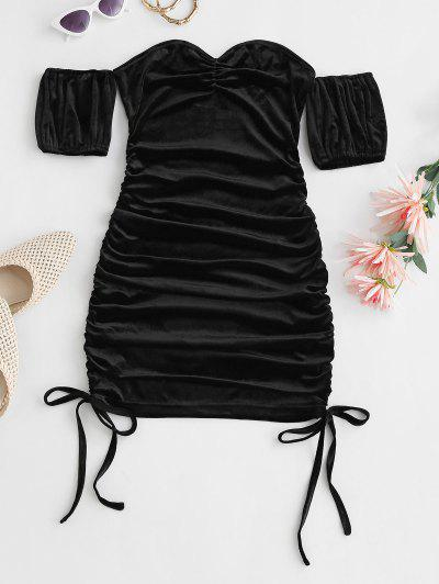 Off Shoulder Velvet Ruched Bodycon Tie Dress - Black S