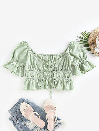 ZAFUL Ruffle Lace Up Raglan Sleeve Blouse - Light Green M