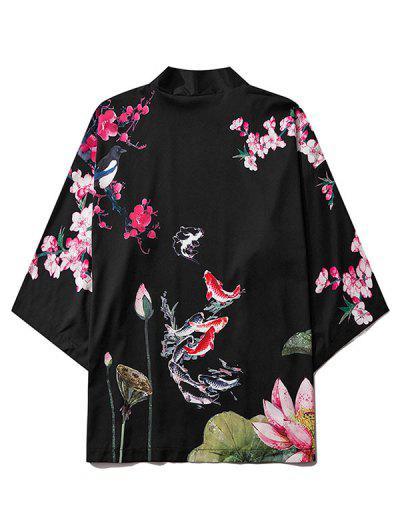 Koi Fish Flower Print Chinoiserie Kimono Cardigan - Black M