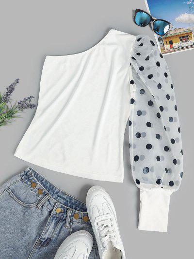 Polka Dot Organza Puff Sleeve One Shoulder Top - White L