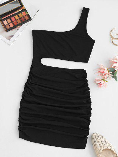One Shoulder Ruched Bodycon Cutout Dress - Black S