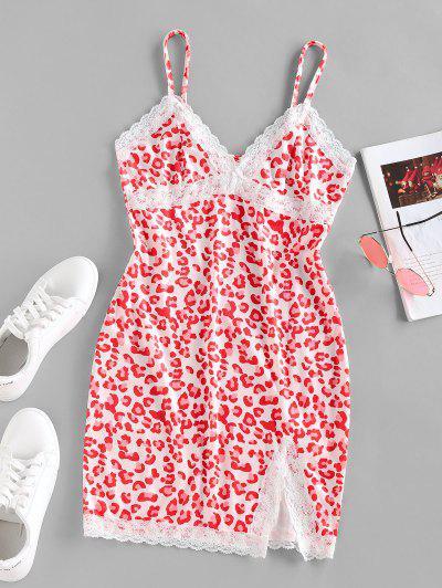 ZAFUL Leopard Lace Insert Slit Velvet Bodycon Dress - Red S