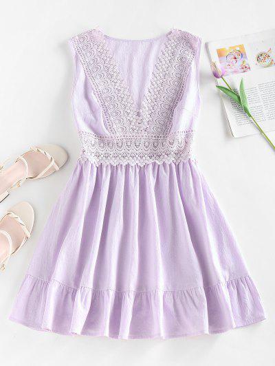 ZAFUL Plunging Crochet Insert Flounce Hem Dress - Light Purple S