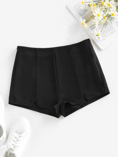 ZAFUL V Notched Skinny Zipper Side Shorts - Black M