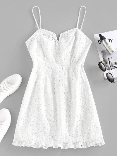 ZAFUL Mini Vestido De Cable Broderie Anglaise De V - Blanco S