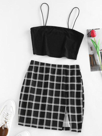 ZAFUL Ribbed Windowpane Check Slit Mini Skirt Set - Black M