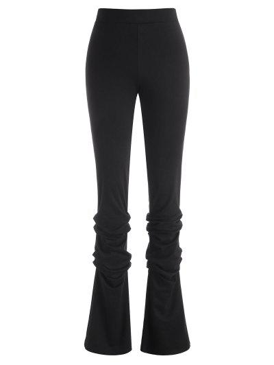 Zipper Fly Ruched Stacked Pants - Black M
