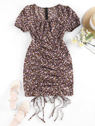 Tiny Floral Print Cinched Mini Dress - Deep Brown S