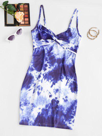 Tie Dye Twisted Bodycon Cami Dress - Blue S