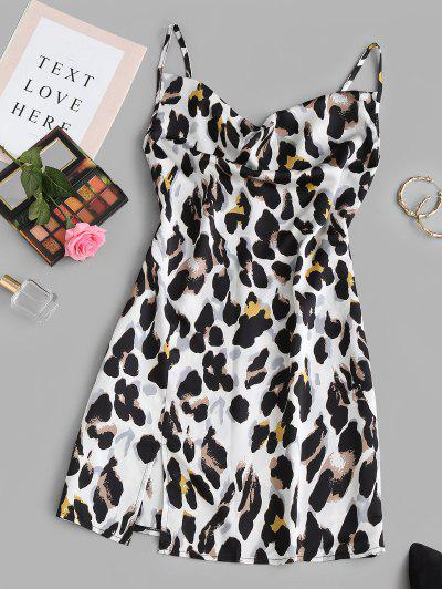 Leopard Cowl Front Slit Mini Dress - White S