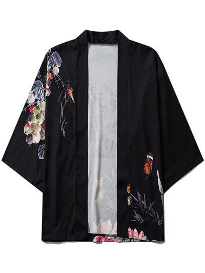 Bamboo Butterfly Floral Paint Kimono Cardigan - Black L